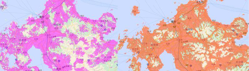 (左)WiMAX回線・(右)LTE回線@au