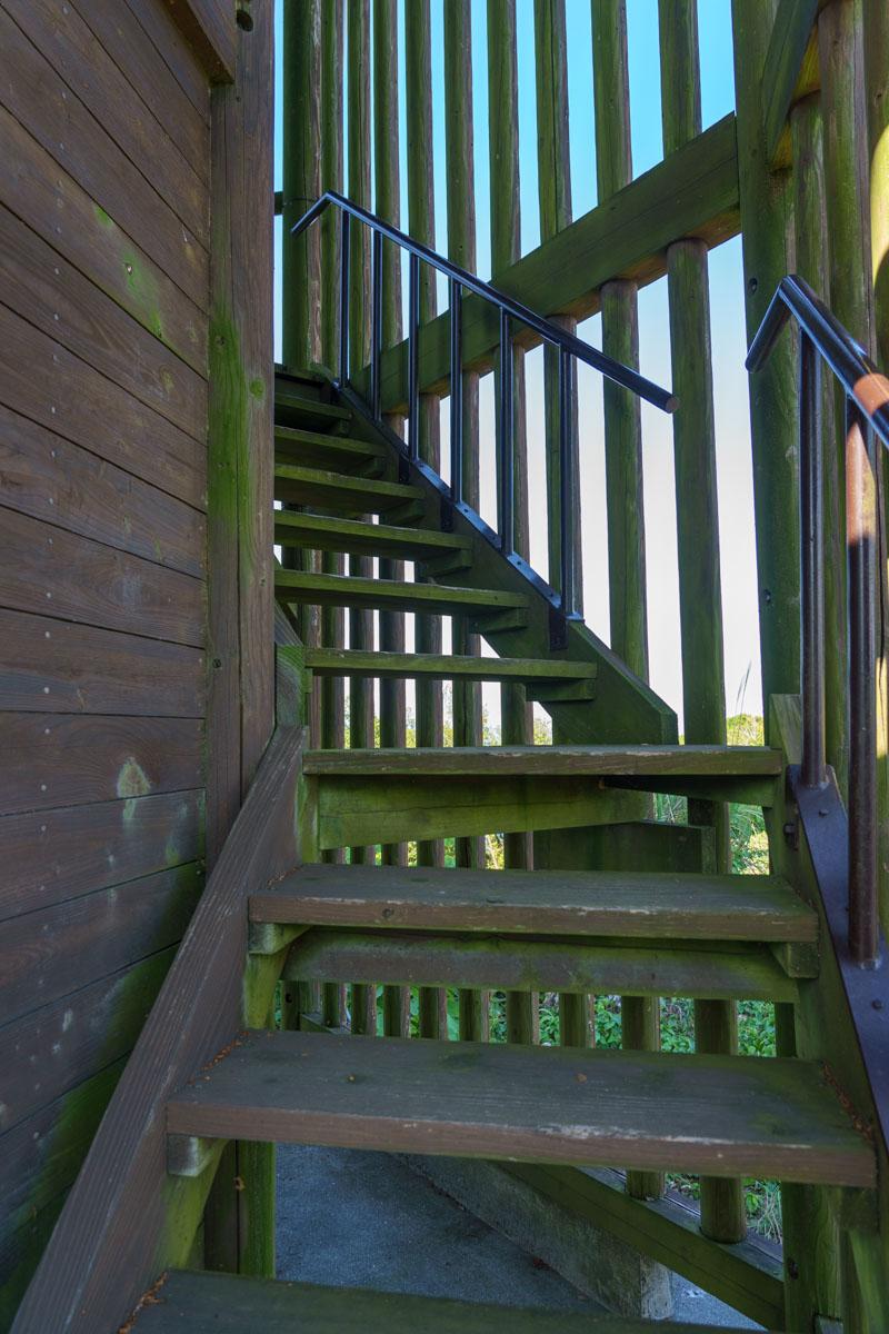 展望台の階段を登る
